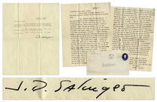 J.D. Salinger Letter Signed From 1953, ...I dont seem to know who any of my friends are any more... -- Also With a Passionate 2pp. Letter to a Fellow Writer, ...Both stories reek of talent...