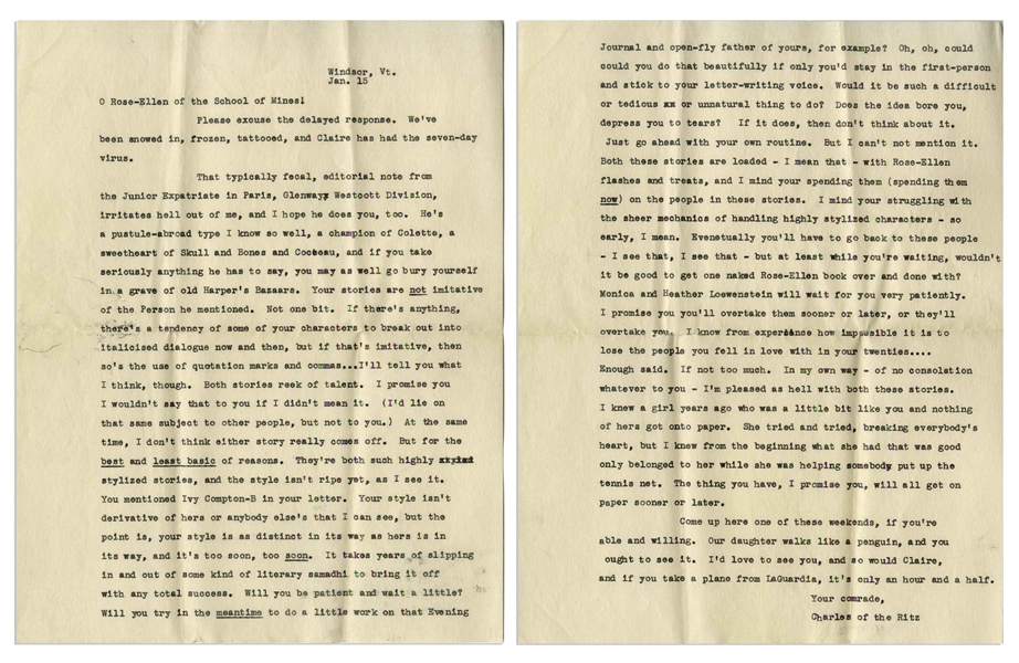 J.D. Salinger Letter Signed From 1953, ''...I don't seem to know who any of my friends are any more...'' -- Also With a Passionate 2pp. Letter to a Fellow Writer, ''...Both stories reek of talent...''