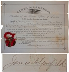 James Garfield Document Signed as President -- One of the Rarest Presidential Signatures