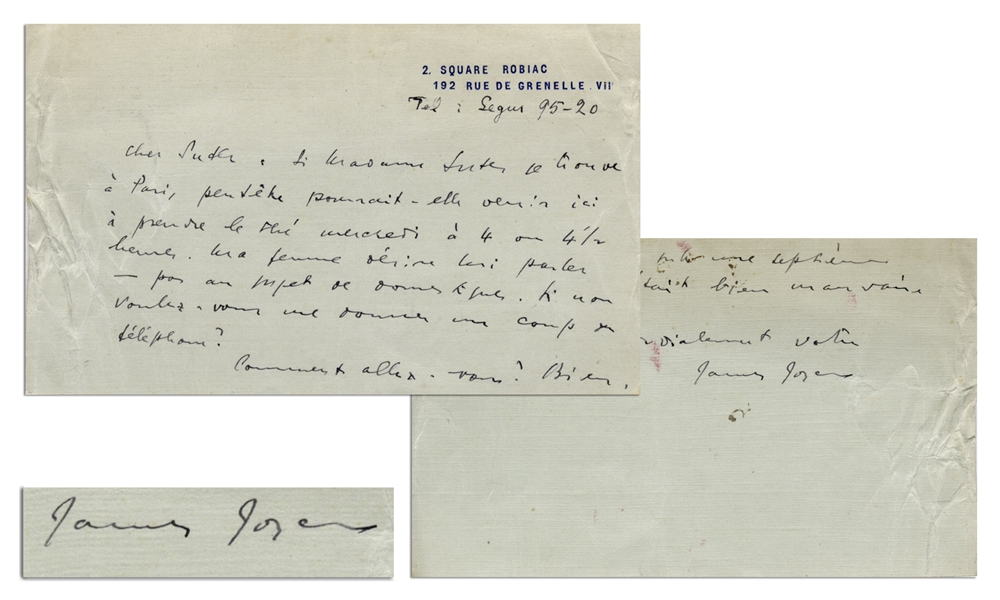 James Joyce Autograph Letter Signed -- ''...I have undergone a seventh operation. It was quite awful this time...''