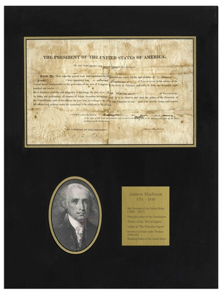 James Madison Military Appointment Signed as President During the War of 1812