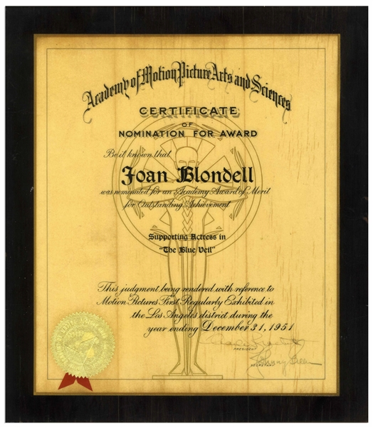 Joan Blondell's Academy Award Nomination for the Film ''The Blue Veil''
