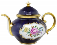 Margaret Thatcher Personally Owned China -- Gorgeous Navy Blue & Floral Teapot