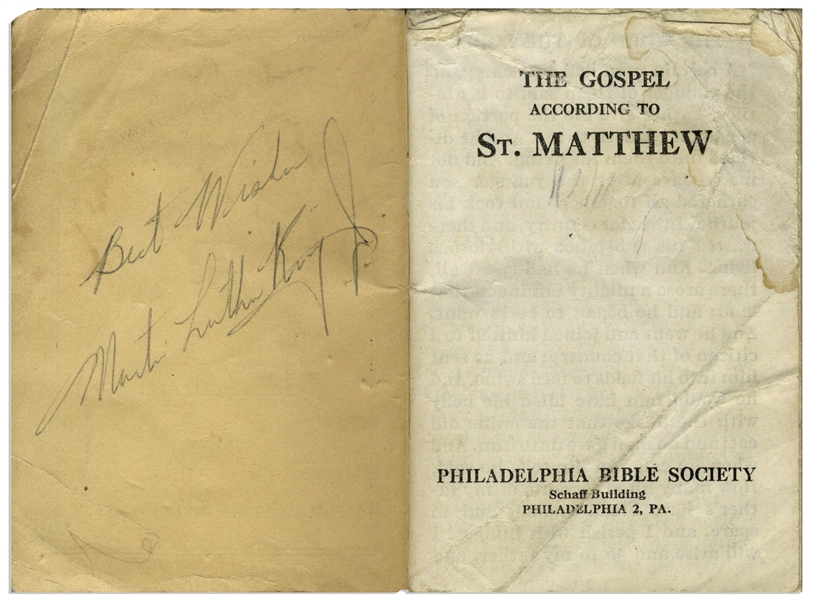 Martin Luther King, Jr. Signed Gospel of Matthew