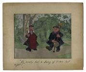 Original Disney Cels Used in Mary Poppins -- Featuring Two of the Pearlies From the Famous Supercalifragilisticexpialidocious Scene