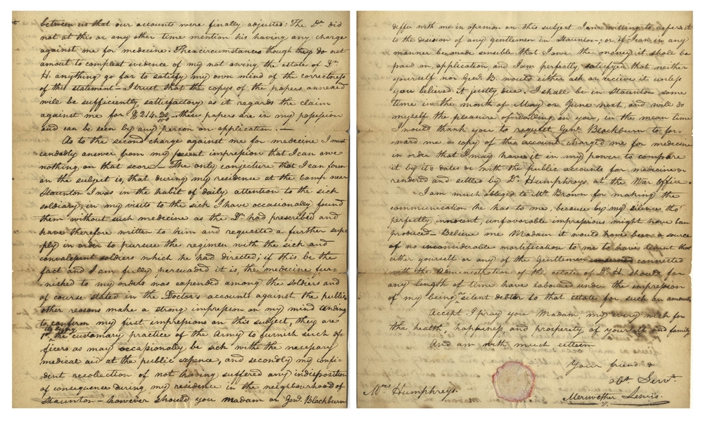 Meriwether Lewis Autograph Letter Signed, Two Months Before the Lewis & Clark Expedition -- In What Would Be Lewis' Lifelong Battle With Reimbursed Debt, He Defends Against Money He Purportedly Owes