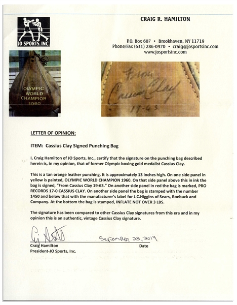 Muhammad Ali Signed Speed Bag From 1963 as Cassius Clay -- With COA From Craig R. Hamilton