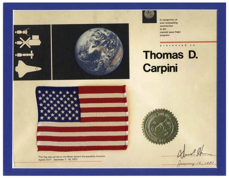 United States Flag Flown to the Moon on the Apollo 17 Mission