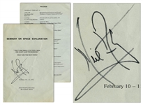 Neil Armstrong Signed Program for Seminar on Space Exploration