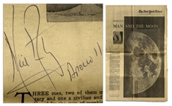 Neil Armstrong Signed New York Times Supplement From 17 July 1969 Entitled Man and the Moon -- Armstrong Signed His Name and Mission Apollo 11