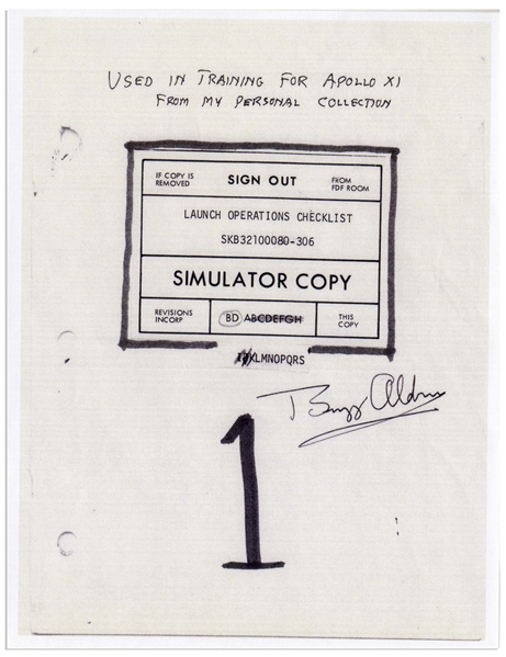 Apollo 11 Launch Checklist Used by the Astronauts During Flight Simulation Training for the Apollo 11 Mission, Signed by Buzz Aldrin -- With Additional Letter of Provenance Also Signed by Aldrin