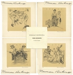 Norman Rockwell Signed Set of Four Seasons Artist Proof Lithographs -- Housed in Custom Portfolio