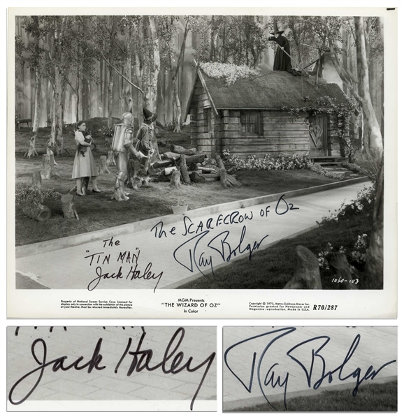 Ray Bolger and Jack Haley Signed 10'' x 8'' ''Wizard of Oz'' Photo
