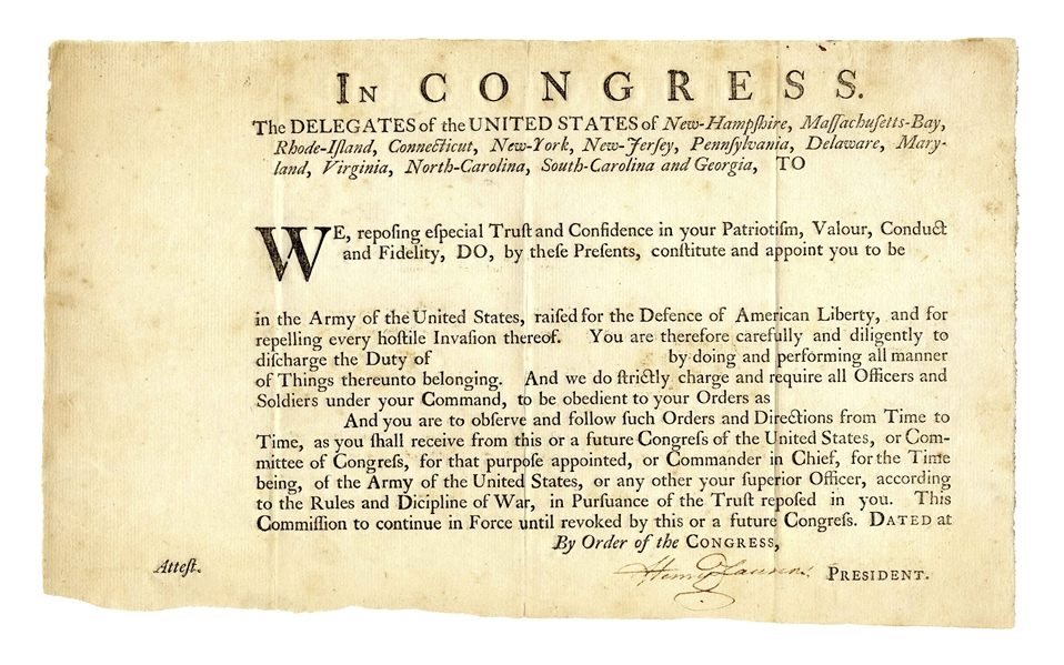 Henry Laurens Document Signed as President of the Continental Congress -- Blank Military Appointment to the Revolutionary War