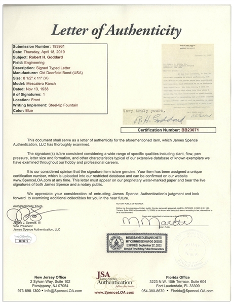 Scarce 1938 Letter Signed by Robert H. Goddard, the Father of Space Flight -- ''...such matters as the rocket motor have accordingly not received as much attention...'' -- With JSA COA
