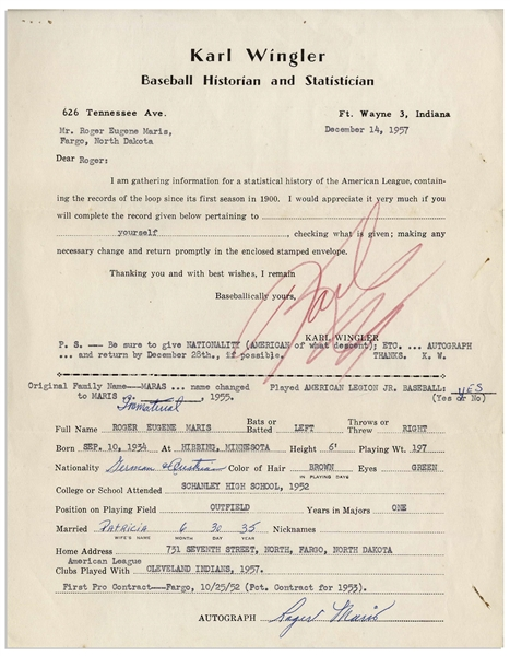 Interesting Roger Maris Lot -- Baseball Questionnaire Filled Out and Signed by Maris in 1957 & Two Cards Also Filled Out by Him With Details on His Name Change and the Scout Who Signed Him