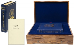 Ronald Reagan Signed An American Life Special Limited Edition -- Housed in Luxury Oak Case With Audiotapes of Speaking My Mind