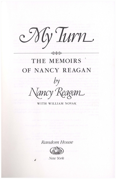 Ronald & Nancy Reagan Signed Books -- The President Signs His Book ''Speaking My Mind'' & the First Lady Signs Her Memoir ''My Turn''