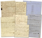 Lot of Seven 19th Century Slave Documents -- Bill of Sale for Slaves, Taxes Levied for Slave Property, Inventory List of Slaves, Court Order to Recover Slaves, Etc.