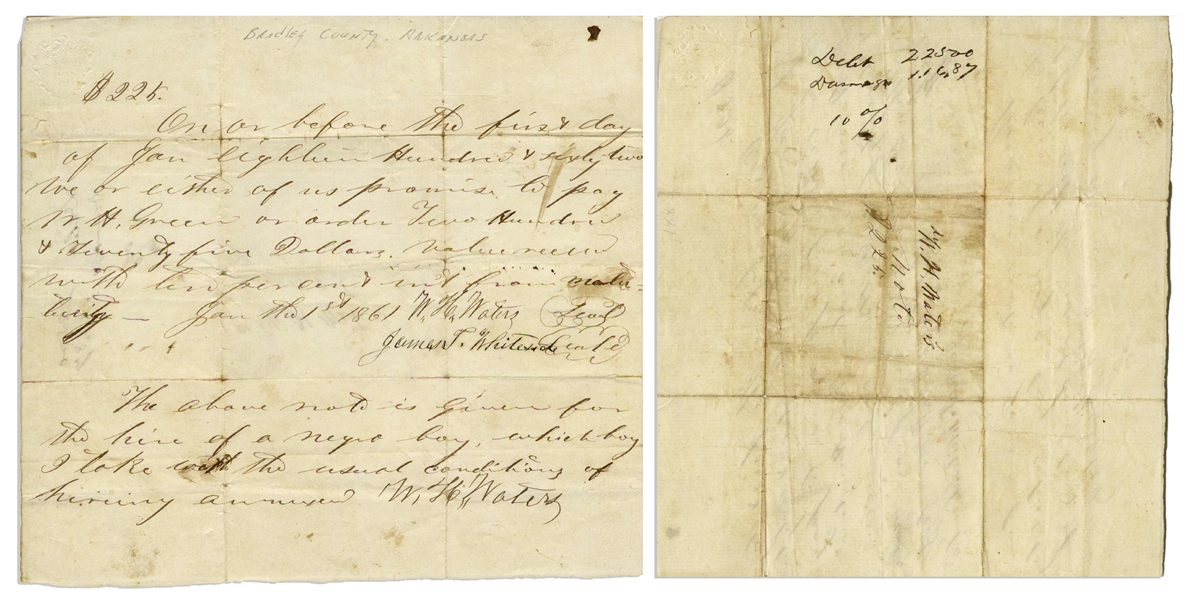 Lot of Seven 19th Century Slave Documents -- ''Bill of Sale'' for Slaves, Taxes Levied for Slave Property, Inventory List of Slaves, Court Order to Recover Slaves, Etc.