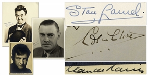 Stan Laurel, Claude Rains and Colin Clive Signed Photos -- Laurel & Clive Photos Measure 8 x 10