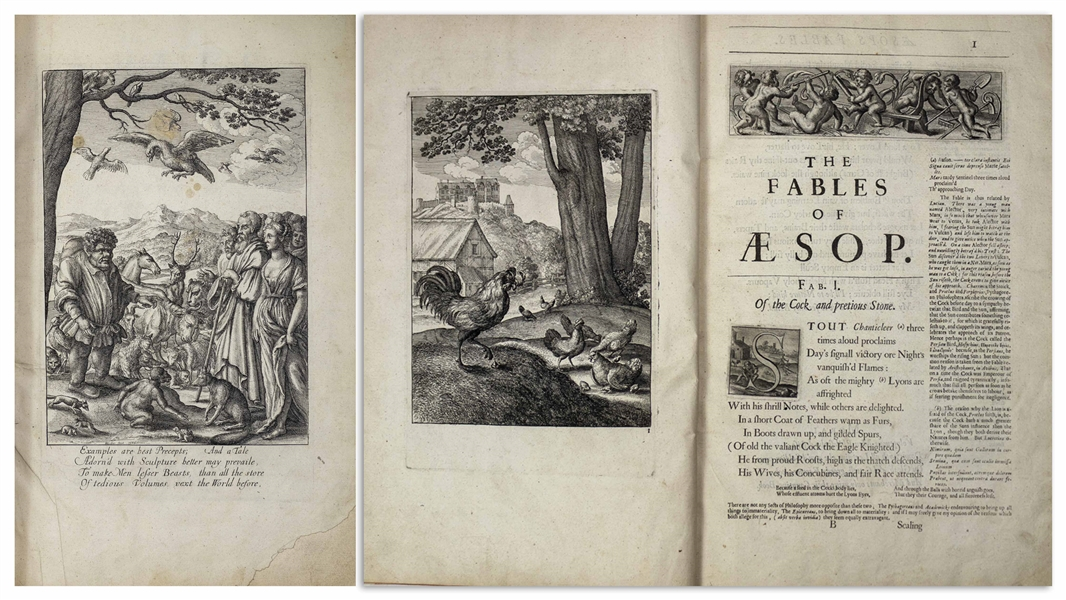 ''The Fables of Aesop'' 1668 Second Edition, With Over 80 Engraved Plates Illustrating the Fables -- Large Folio Measures 11'' x 16.5''