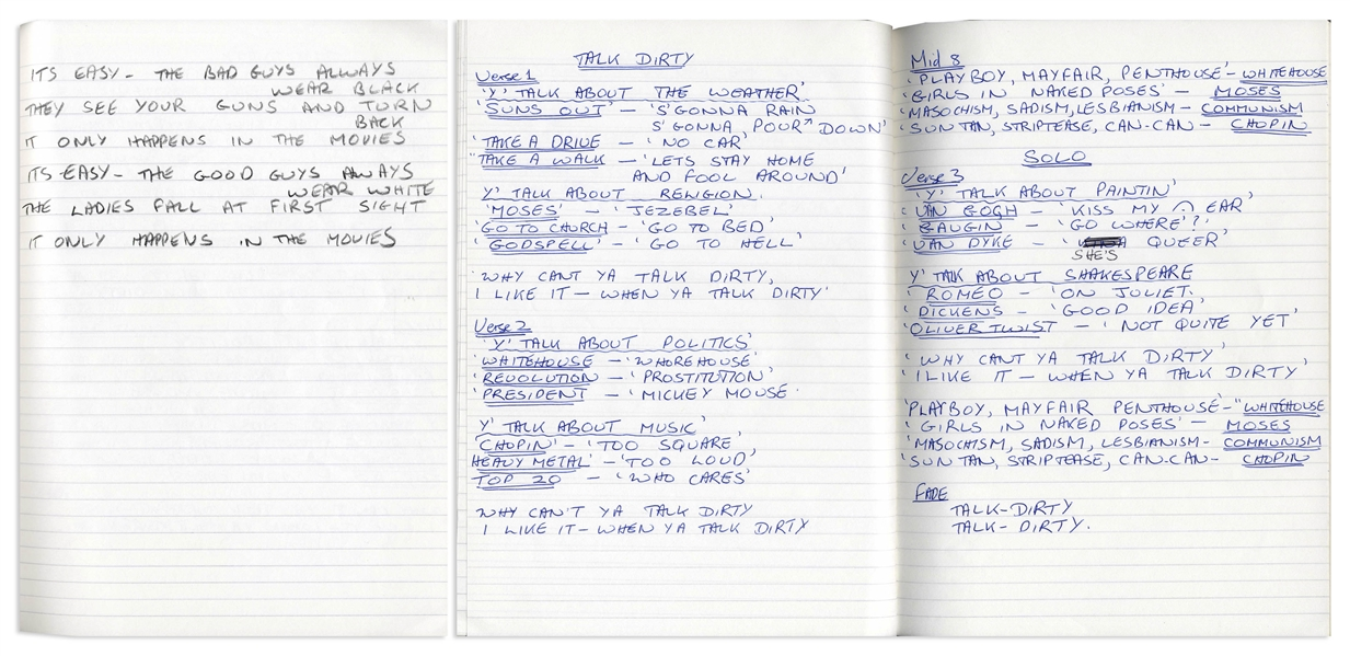The Who's John Entwistle's Notebook Filled With Over 16 Handwritten Lyrics to His Songs ''Too Late the Hero'', ''Talk Dirty'', ''Love is a Heart Attack'', ''I'm Coming Back'', ''Lovebird'' & Many More