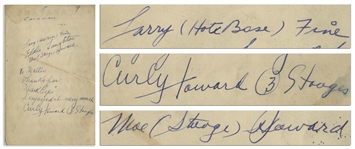 Three Stooges Signed Sheet Music, Including Curly Howards Signature -- Signed by Curly, Moe & Larry Circa 1943