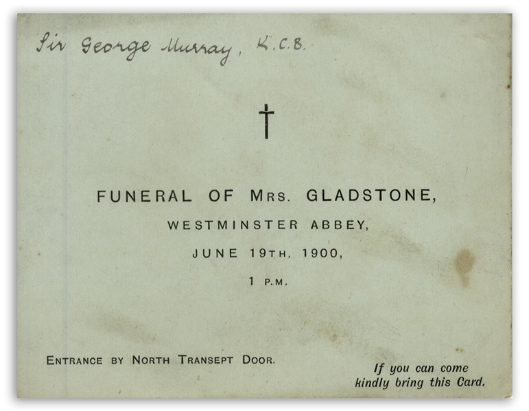Lot of Three Admission Tickets to the Funeral of Catherine Gladstone, Wife of U.K. Prime Minister William Ewart Gladstone