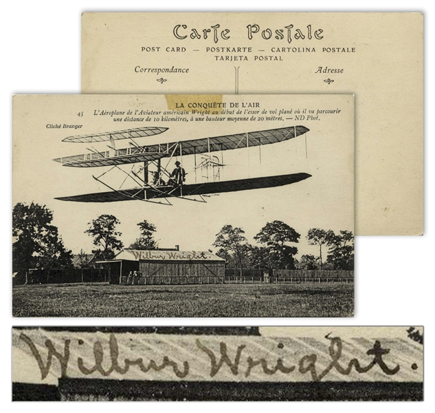 Wilbur Wright Postcard Signed From December 1908 During Their Very Successful Exhibition Flights in Europe