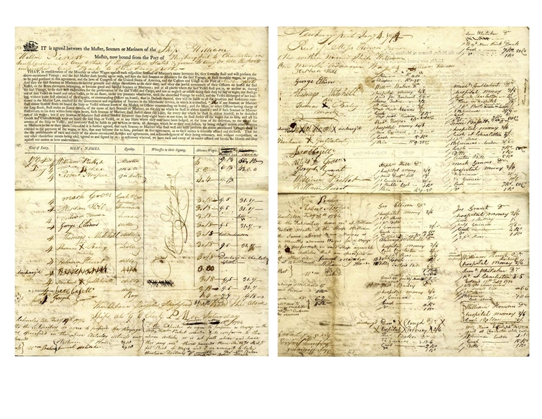 Ship's Contract From 1794 for the Ship ''William'', Owned by Moses Brown