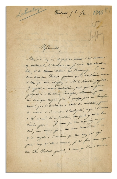 Mastermind Behind The Statue of Liberty Edouard Laboulaye Autograph Letter Signed -- Rare