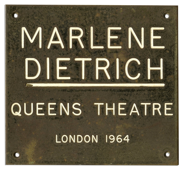 Marlene Dietrich Personally Owned Queens Theatre Plaque From Her Dressing Room