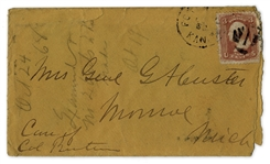 George Custer Envelope Made Out in His Hand to His Wife -- Mrs. G.A. Custer