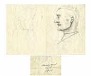 Dwight D. Eisenhower Sketch as President -- Eisenhower Draws the Profile of a Man -- From the Malcolm S. Forbes Collection