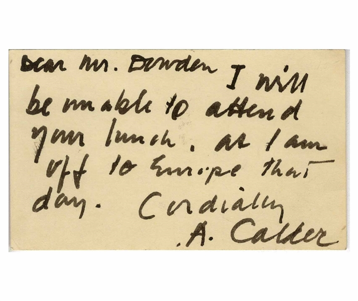 Alexander Calder Autograph Note Signed -- ''...I am off to Europe...''