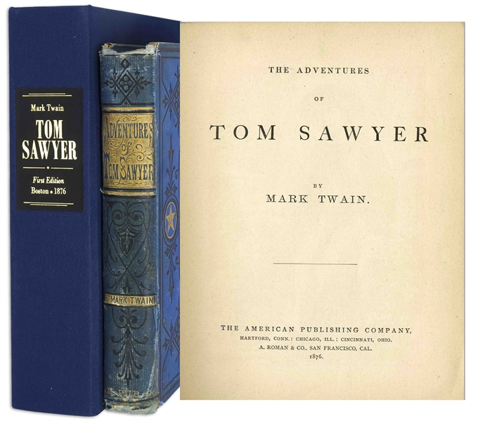 Mark Twain ''Adventures of Tom Sawyer'' First Edition, Second Printing -- Bound in Publisher's Blue Cloth