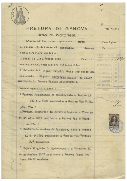 Oskar and Emilie Schindler Archive Concerning Their Move to Argentina After World War II -- Including Oskar's Boarding Document to Leave Europe