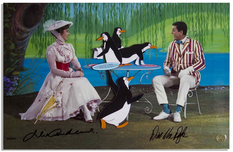 Julie Andrews & Dick Van Dyke Signed Limited Edition ''Mary Poppins'' Artwork by Disney -- Created From Original Disney Animation Drawings