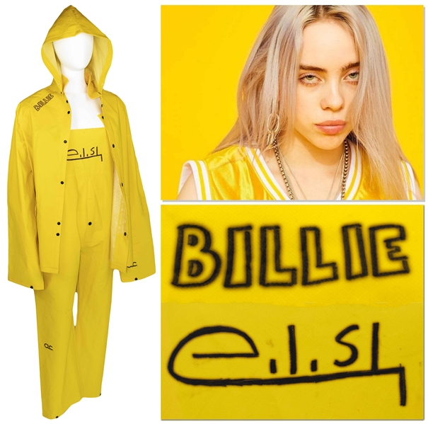 Billie Eilish Personally Owned, Worn & Signed Outfit -- Quintessential Bright Yellow Outfit Includes Overalls, Jacket & Hood