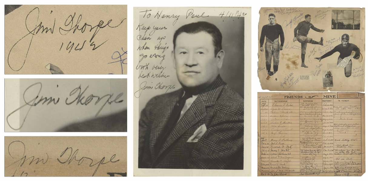 Jim Thorpe Lot of Three Signed Items, Including a Rare Signed Photo -- Considered One of the Greatest Athletes of All Time, Thorpe Was the First Native American to Win an Olympic Gold Medal for the US