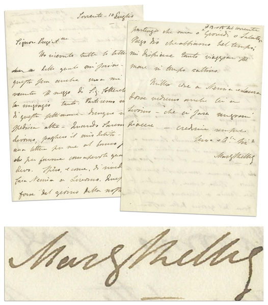 Mary Shelley Autograph Letter Signed During Her Travels Through Italy in 1843 -- Shelley Gives Thanks for Sending Letters Written by Her Late Husband, Percy Shelley