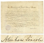 Abraham Lincoln Document Signed as President, Appointing Edward L. Kingsbury U.S. Consul to Algiers -- With a Bold, Full Abraham Lincoln Signature
