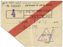 Ticket to the 1961 Trial of Adolf Eichmann in Israel