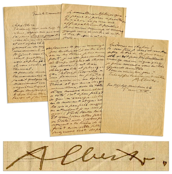Alberto Giacometti Autograph Letter Signed With Extremely Rare Content on His Sculptures -- ''...I am working on a woman in plaster who will be seated on a sort of throne...''