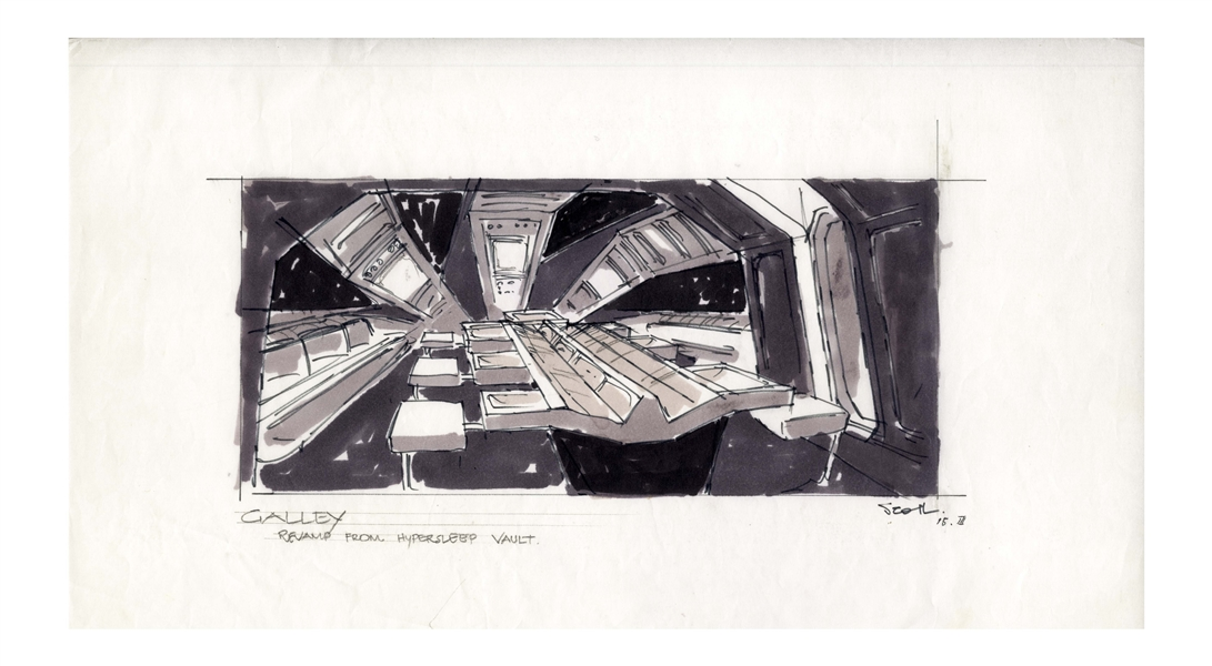 Early Concept Art for ''Alien'', Done in 1977 -- Showing the ''Hypersleep Vault'' of the Nostromo Spaceship
