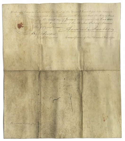 Andrew Jackson Land Grant Signed as President, Awarding Land to a Military Veteran