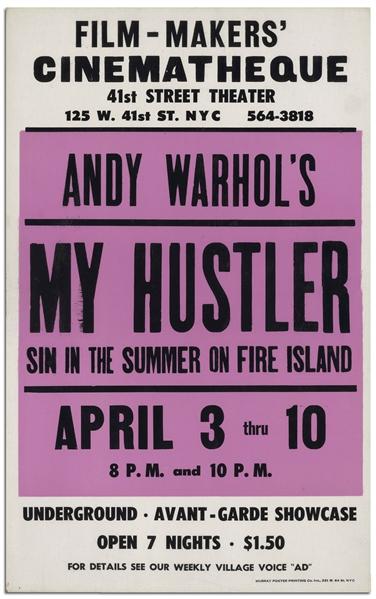 Movie Poster for the Andy Warhol Film ''My Hustler'' -- Near Fine Condition