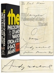 Andy Warhol Sketches His Famous Campbells Soup Can -- Drawn Upon a Signed First Edition of The Philosophy of Andy Warhol