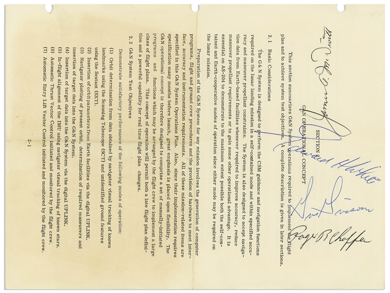 Computer Space Document Signed by Apollo 1 Astronauts Gus Grissom, Ed White & Roger Chaffee -- Also by James McDivitt